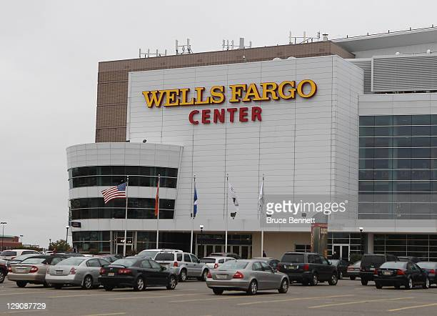 An exterior view of the Wells Fargo Center prior to the game between the Vancouver Canucks and the Philadelphia Flyers on October 12, 2011 in...