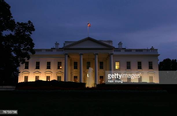 An exterior view of the White House is shown September 13 2007 in Washington DC US President George W Bush addressed the nation this evening in a...