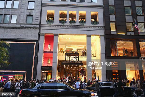 An exterior view of Tommy Hilfiger Fifth Avenue Flagship Store as the Soul Tigers march in honor of Tommy Hilfiger Fifth Avenue on November 8 2009 in...
