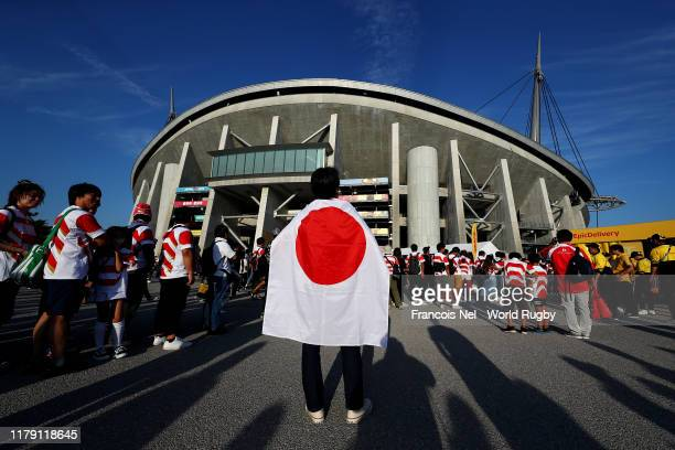 An exterior view of Toyota Stadium ahead of the Rugby World Cup 2019 Group A game between Japan and Samoa at City of Toyota Stadium on October 05,...