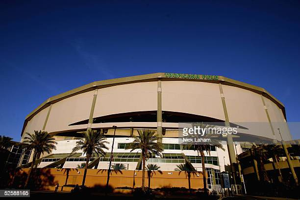 An exterior view of Tropicana Field is seen after the Tampa Bay Devil Rays home opener against the Toronto Blue Jays at Tropicana Field on April 4,...
