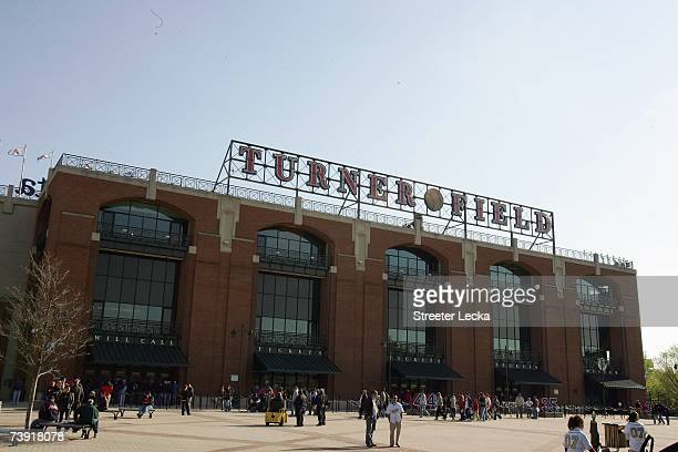 An exterior view of Turner Field before the start of the New York Mets versus Atlanta Braves during the Braves home season opening game at Turner...