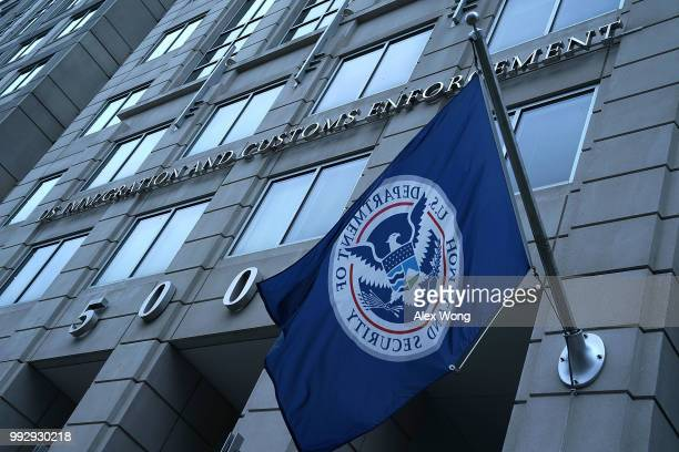 An exterior view of U.S. Immigration and Customs Enforcement agency headquarters is seen July 6, 2018 in Washington, DC. U.S. Vice President Mike...
