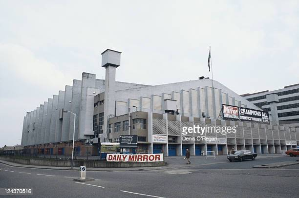 An exterior view of Wembley Arena London 1980 The Daily Mirror's Champions All international gymnastics tournament is advertised