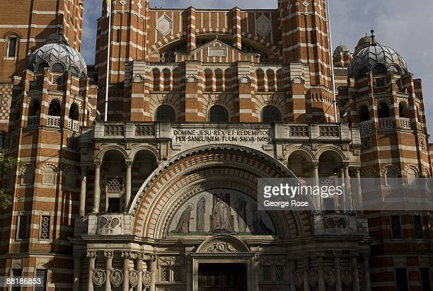 An exterior view of Westminster Cathedral is seen in this 2009 London United Kingdom cityscape photo