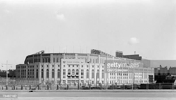 An exterior view of Yankee Stadium at the corner of 161st Street and River Avenue in 1963 in the Bronx New York