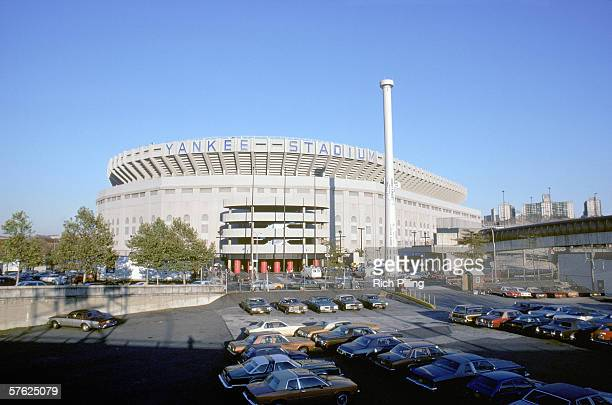 An Exterior view of Yankee Stadium circa 1981 in the Bronx New York