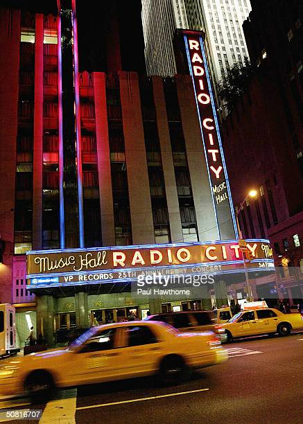 An exterior view showing the 25th Anniversary of VP Records show at Radio City Music Hall May 8, 2004 in New York City.