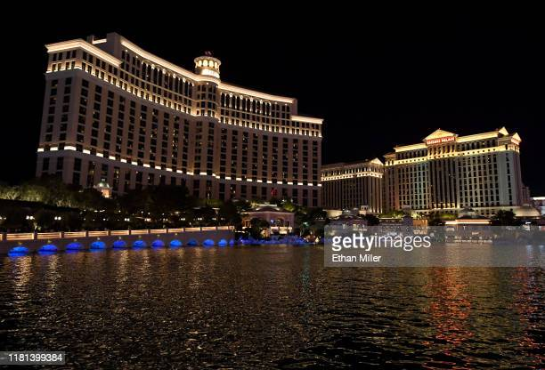 An exterior view shows Bellagio Resort Casino and Caesars Palace on October 15 2019 in Las Vegas Nevada MGM Resorts International and real estate...