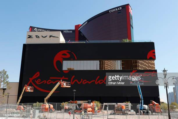 An exterior view shows construction continuing at Resorts World Las Vegas on June 20, 2021 in Las Vegas, Nevada. Genting Group's property is...