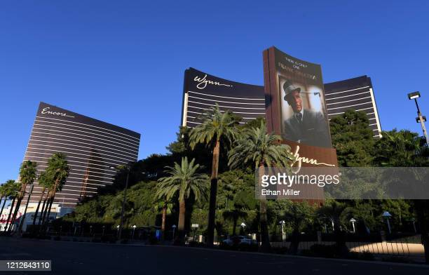 An exterior view shows Encore Las Vegas and Wynn Las Vegas as the coronavirus continues to spread across the United States on March 15, 2020 in Las...
