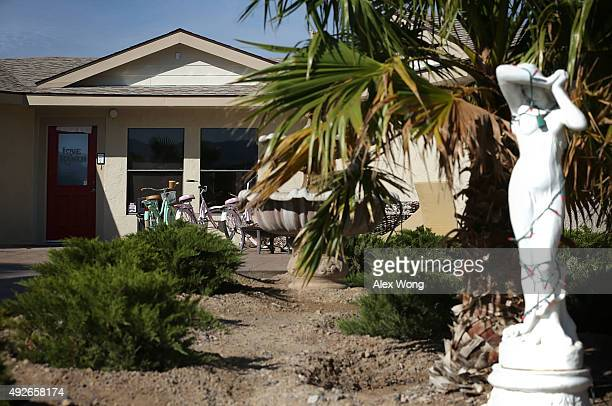 An exterior view shows the Love Ranch Las Vegas brothel on October 14 2015 in Crystal Nevada Former NBA player Lamar Odom was found unconscious...