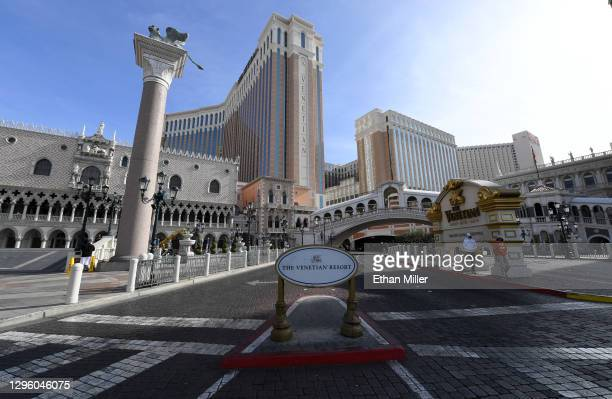 An exterior view shows The Venetian Las Vegas on January 12, 2021 in Las Vegas, Nevada. Las Vegas Sands Corp. Chairman and CEO Sheldon Adelson, The...