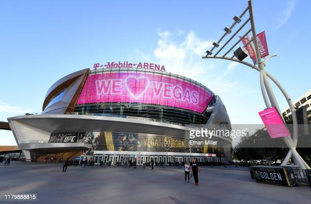 An exterior view shows T-Mobile Arena before a game between the Boston Bruins and the Vegas Golden Knights at T-Mobile Arena on October 8, 2019 in...
