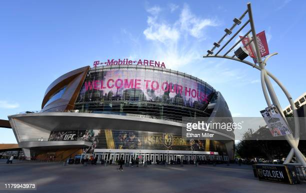 An exterior view shows TMobile Arena before a game between the Boston Bruins and the Vegas Golden Knights at TMobile Arena on October 8 2019 in Las...