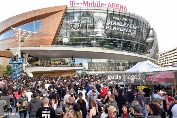 An exterior view shows TMobile Arena prior to Game One of the Western Conference First Round during the 2018 NHL Stanley Cup Playoffs between the Los...