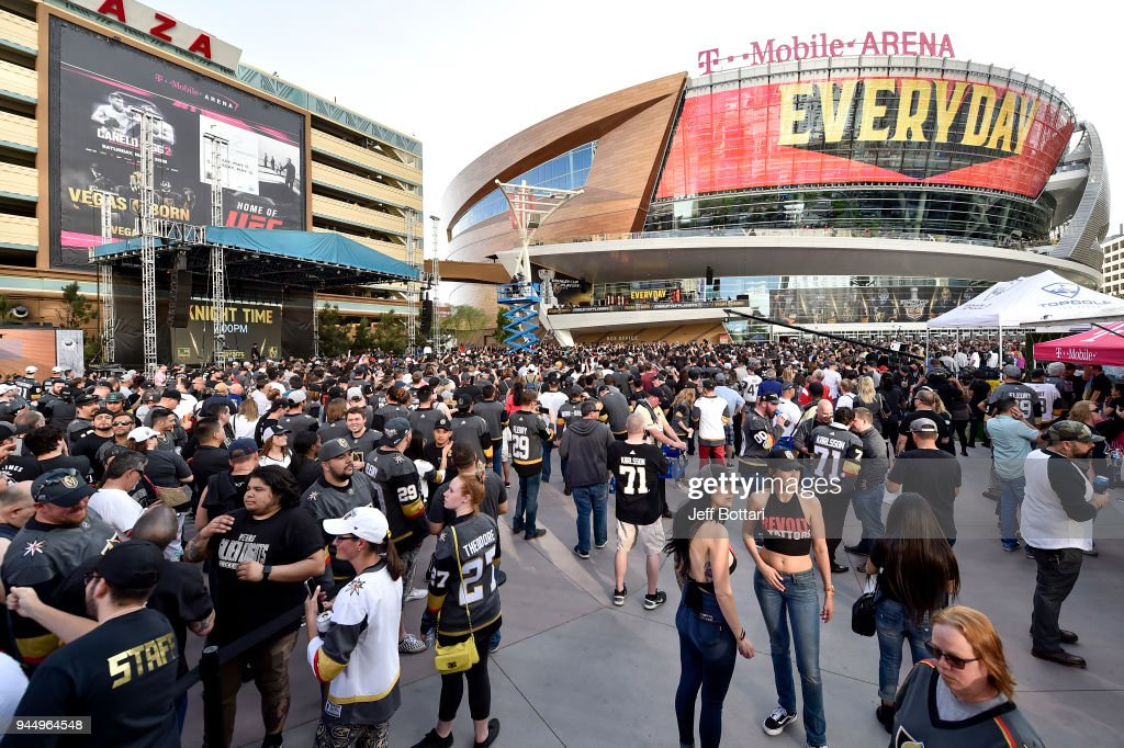 An exterior view shows T-Mobile Arena prior to Game One of the Western Conference First Round during the 2018 NHL Stanley Cup Playoffs between the Los Angeles Kings and the Vegas Golden Knights on April 11, 2018 in Las Vegas, Nevada.