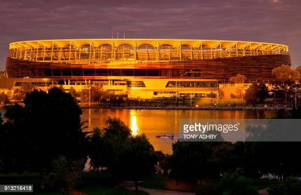 An exterior view taken on January 28 2018 shows the new Optus Perth Stadium which hosted the oneday international cricket match between England and...