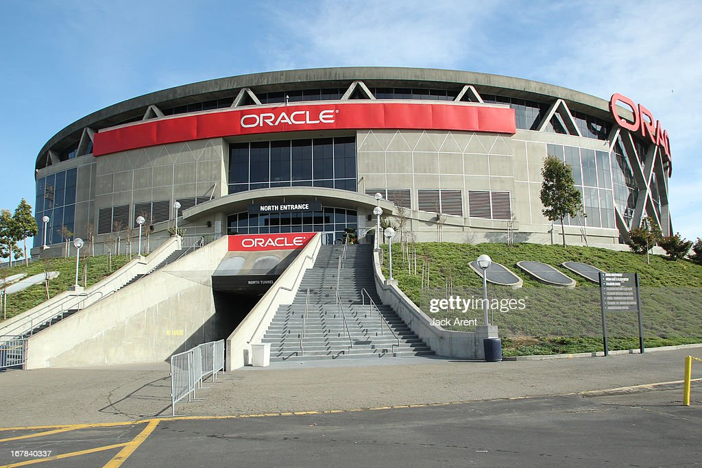 An exteriors shot of the Golden State Warriors home arena, Oracle Arena on April 3, 2013 at Oracle Arena in Oakland, California.