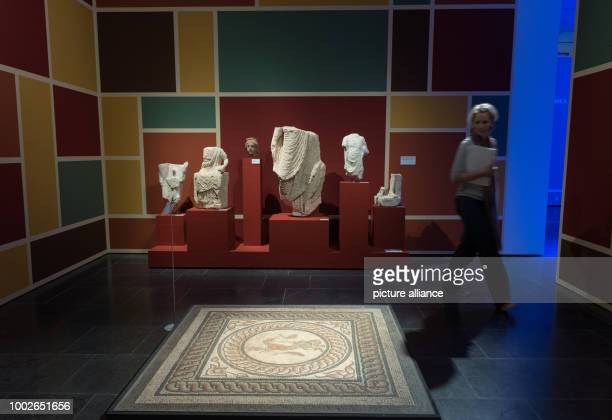 An external employee of the museum takes a look at a mosaic floor from a roman city house in Mainz Germany 16 May 2017 Marking the 70th birthday of...