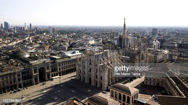 An external view from the top of the Duomo Cathedral during the outbreak on May 7 2020 in Milan Italy Italy was the first country to impose a...