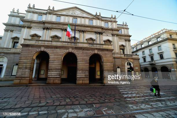 An external view La Scala Theater during the coronavirus outbreak on March 18, 2020 in Milan, Italy. Italian Government continues to enforce the...