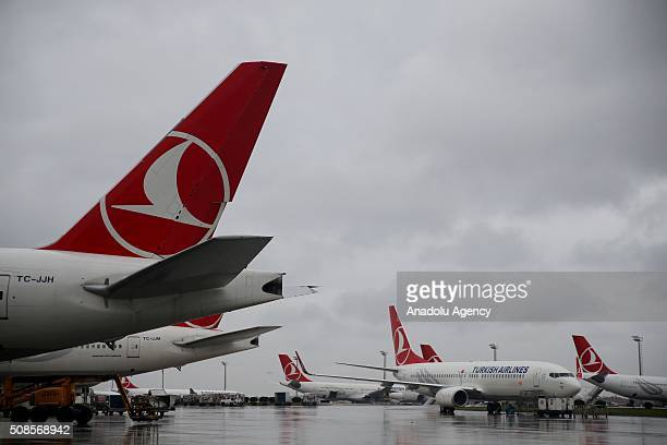 An external view of Airbus A330300 which Turkish Airlines included to its fleet as its 300th plane is seen in Istanbul Turkey on February 5 2016