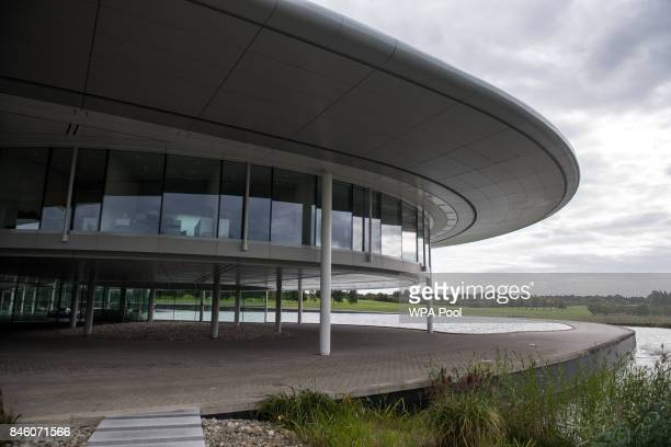 An external view of The McLaren Technology Centre during Prince William, Duke of Cambridge's visit to McLaren Automotive on September 12, 2017 in...