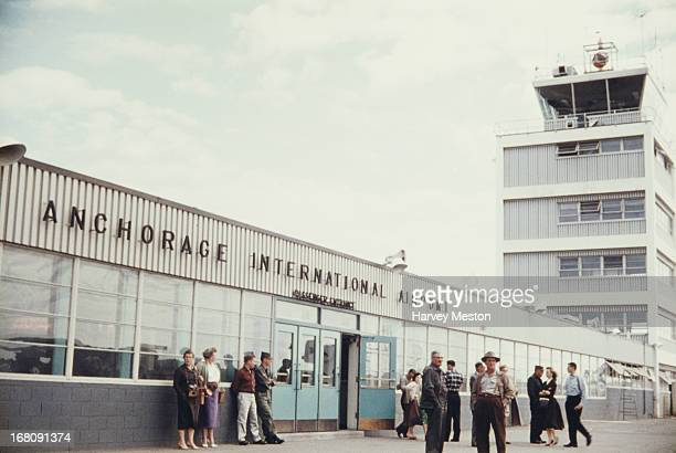 An external view of the passenger entrance at Anchorage International Airport circa 1965