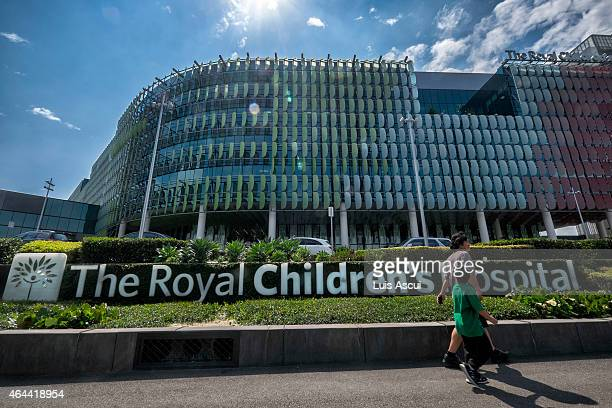 An external view of the Royal Children Hospital where two children are being tested for a range of infectious diseases including Ebola on February 26...