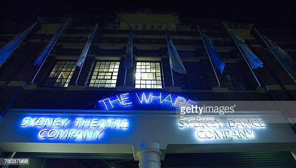 An external view of the Sydney Theatre Company by night during the opening night of Wharf 2LOUD's production Dead Caesar The Chaser's War on Ancient...