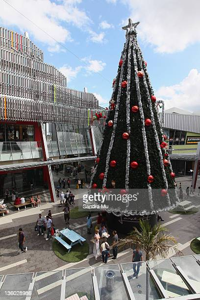An extra large Christmas Tree is on display for shoppers at Sylvia Park shopping centre on December 17 2011 in Auckland New Zealand A long range...