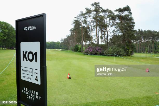 An extra play off hole tee marker is pictured ahead of the Belgian Knockout at the Rinkven International GC on May 16 2018 in Antwerpen Belgium