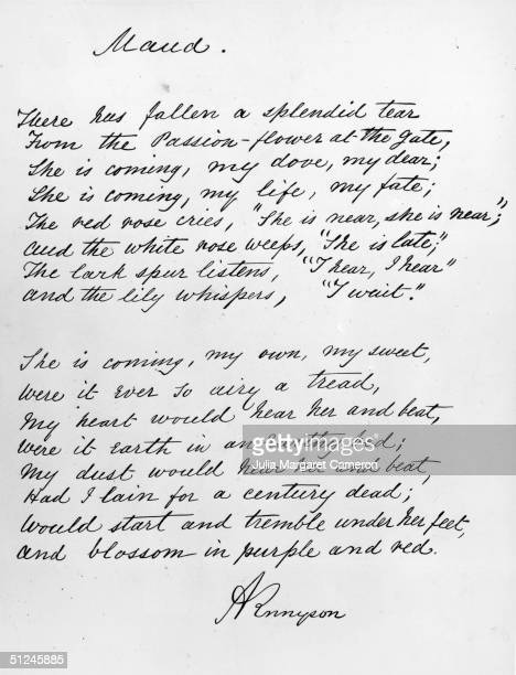 An extract of Lord Alfred Tennyson's poem 'Maud', written in his own hand to form the text of Julia Margaret Cameron's photographic album of his...