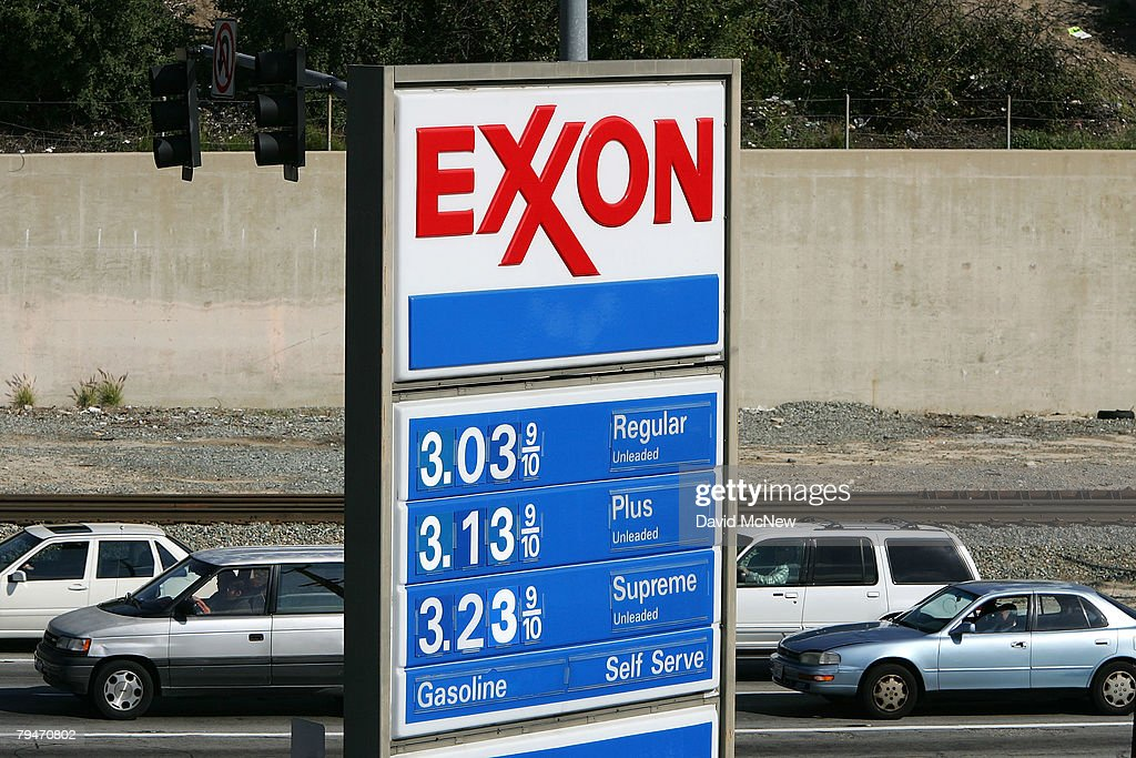 An Exxon gas station advertises its gas prices on February 1, 2008 in Burbank, California. Exxon Mobil Corp. has posted an annual profit of $40.6 billion, the largest ever by a US company, and set a new US record for the highest quarterly profit, $11.7 billion for the last three months of 2007. The previous annual profit record, $39.5 billion, was set by Exxon in 2006. The company's revenue also rose 30 percent in the fourth quarter, from $90 billion a year ago to $116.6 billion. Yearly sales were up from $377.64 billion in 2006 to a new company record of $404.5 billion. Exxon was particularly benefited by historic crude prices at the end of the year. Exxon Mobil is the world?s largest publicly traded oil company.