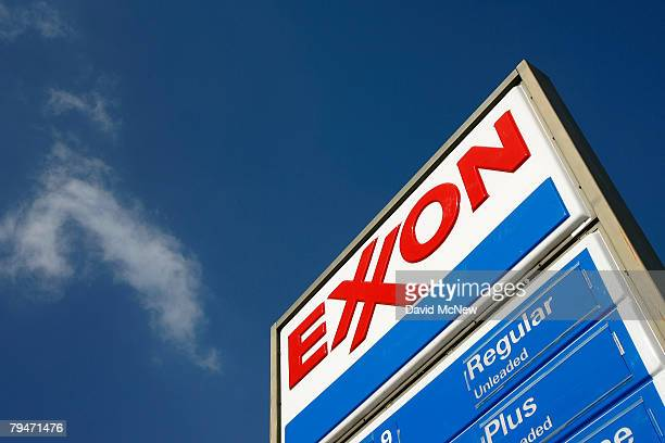 An Exxon gas station advertises its gas prices on February 1 2008 in Burbank California Exxon Mobil Corp has posted an annual profit of $406 billion...