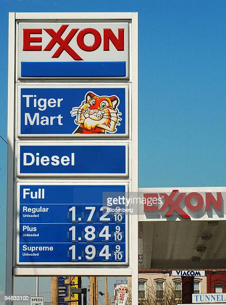 An Exxon gas station is seen in Jersey City New Jersey Thursday April 29 2004 Exxon Mobil Corp the world's largest publicly traded oil company posted...