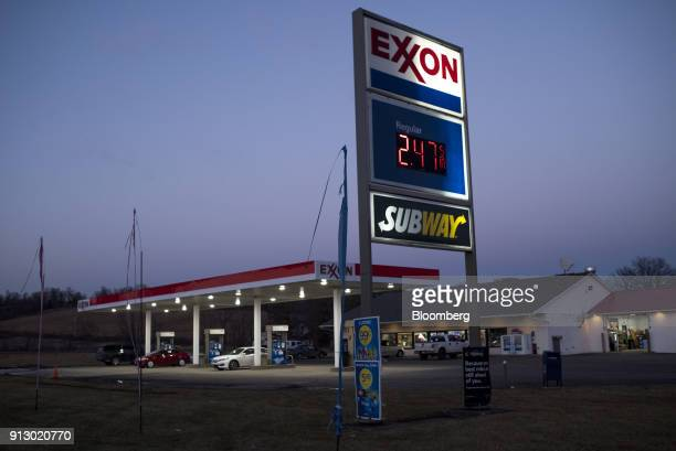 An Exxon Mobil Corp gas station stands in Nashport Ohio US on Friday Jan 26 2018 Exxon Mobil Corp is scheduled to release earnings figures on...