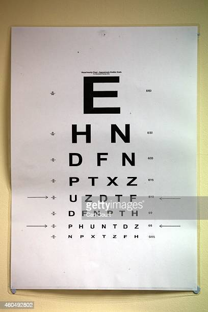 An eyesight test chart is pictured in a General Practitioners surgery on December 4 2014 in London England Ahead of next years general election the...