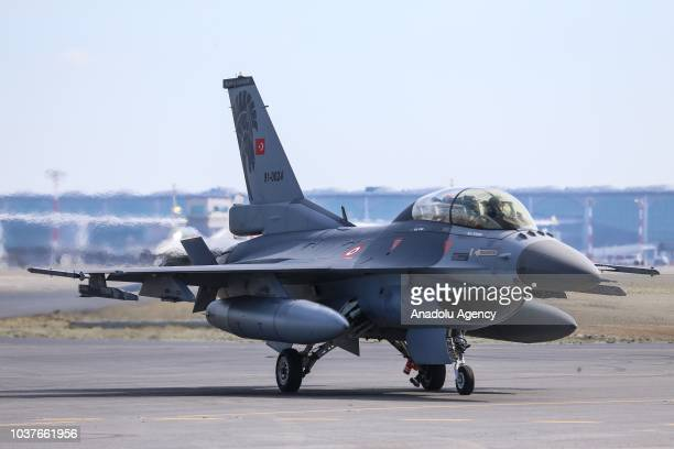 An F 16 fighter jet is seen after accompanying Turkish President Recep Tayyip Erdogan's plane to the 'Teknofest Istanbul' Aerospace and Technology...