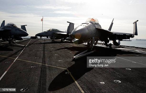 An F 18 Super Hornet aircraft on the flight deck of Aircraft Carrier USS Carl Vinson whilst at anchor in Busan port on January 11 2011 in Busan The...