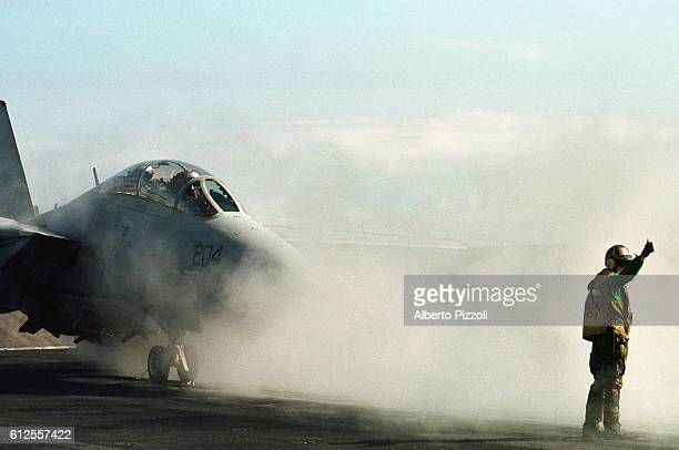 An F14 ready for take-off.