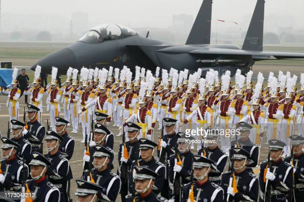 An F15 fighter is displayed at a ceremony marking the country's Armed Forces Day held at air base in Daegu South Korea on Oct 1 2019