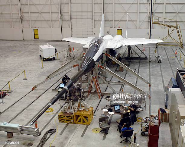 an f-15b testbed aircraft undergoes ground vibration testing. - military airplane stock pictures, royalty-free photos & images