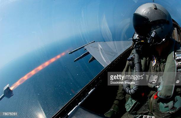 An F-16 Fighting Falcon fires an AIM-9 missile off the coast of South Korea during a live-fire exercise August 18.