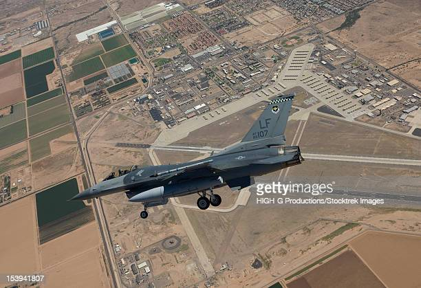 An F-16 Fighting Falcon from the 56th Fighter Wing at Luke Air Force Base, Arizona, performs an SFO during a training mission.