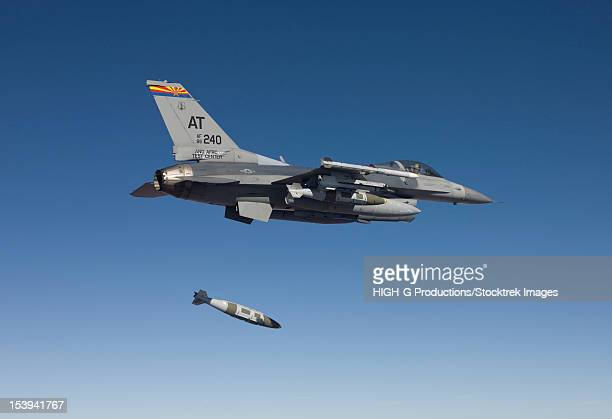 An F-16 Fighting Falcon from the Air National Guard Air Force Reserve Test Center releases a GBU-31 JDAM during to a test mission.