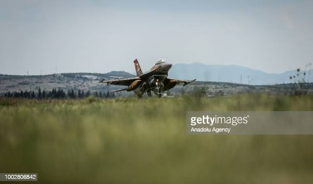 An F16 jet fighter in special tiger painting of Turkish Air Force's 92nd fleet is seen at the 9th Main Air base located in Balikesir province of...