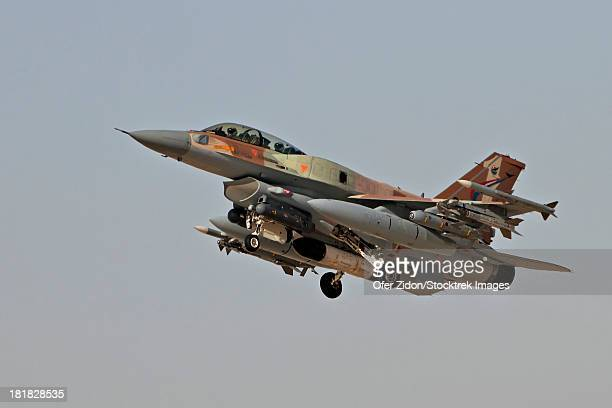 An F-16I Sufa of the Israeli Air Force taking off from Ramon Air Force Base, Israel. The aircraft is armed with Delilah missiles, Rafael Python missiles, and AIM-120 missiles.