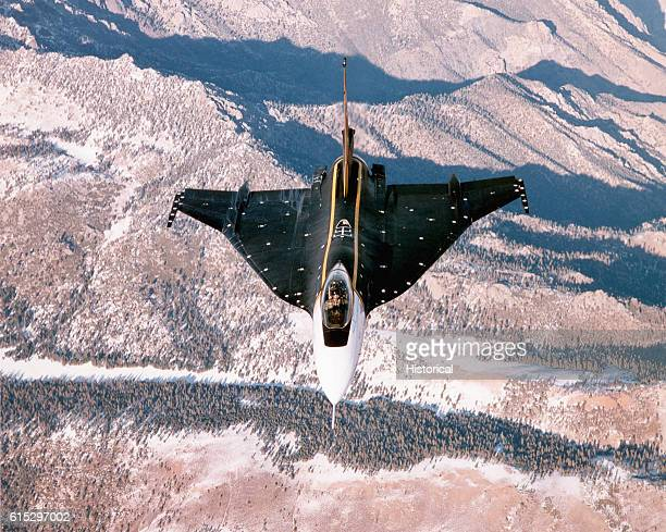 An F16XL fighter plane used by NASA in flight The aircraft is used in measuring the shockwaves of a SR71 for sonic boom research being conducted by...